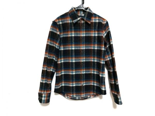 ディースクエアード 長袖シャツ サイズ46 S メンズ 黒×オレンジ×マルチ チェック柄