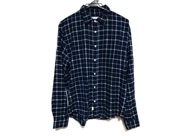 フランク&アイリーン 長袖シャツ サイズXS メンズ美品  ネイビー×ライトグレー