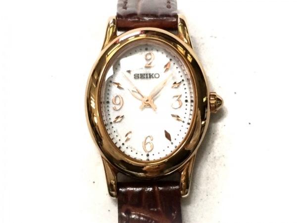 SEIKO(セイコー) 腕時計美品  V117-0CR0 レディース 革ベルト/型押し加工 白