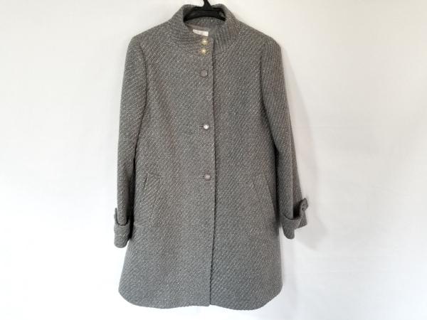 クミキョク コート サイズ2 M レディース美品  グレー ラメ/フェイクパール/冬物