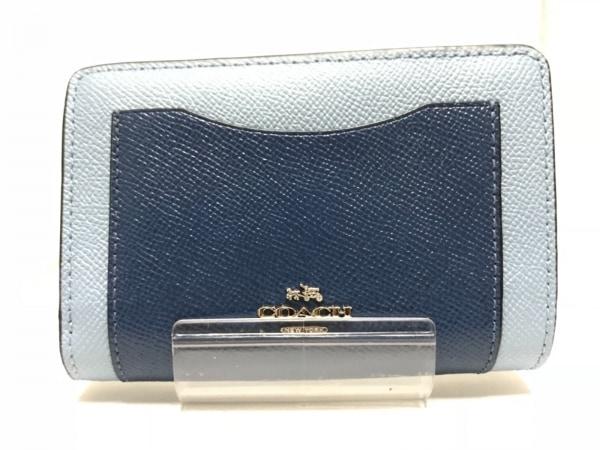 COACH(コーチ) 2つ折り財布 - F57322 ライトブルー×ネイビー×黒 レザー