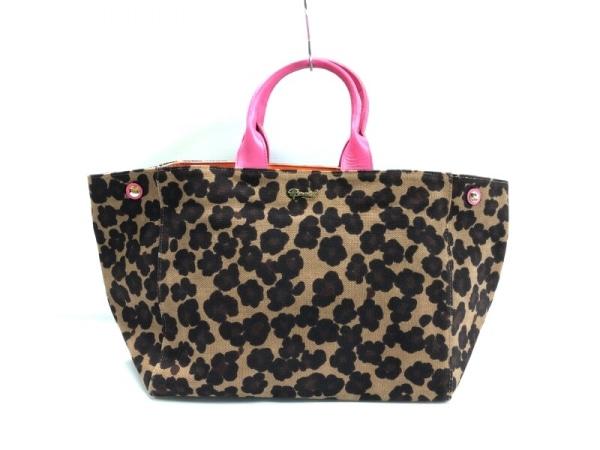 MUVEIL(ミュベール) トートバッグ美品  ダークブラウン×ベージュ×ピンク 豹柄