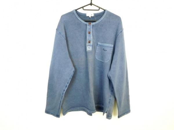 Papas(パパス) 長袖Tシャツ サイズL メンズ ブルー ダメージ加工