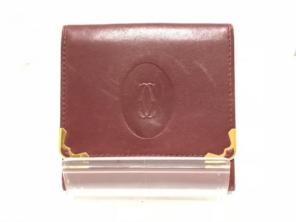 カルティエ コインケース マストライン ボルドー×ゴールド レザー×金属素材