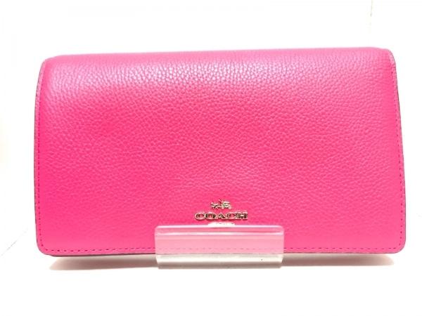 COACH(コーチ) 財布新品同様  - 55775 ピンク ショルダーウォレット レザー
