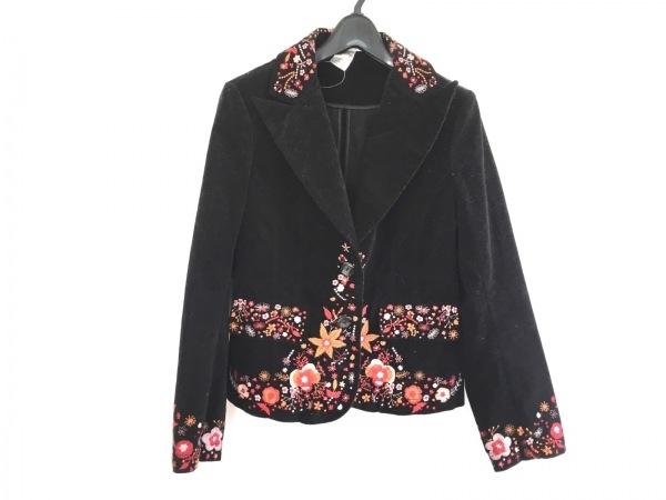 マックスマーラ ジャケット サイズ42 M レディース 黒×マルチ ベロア/刺繍/フラワー