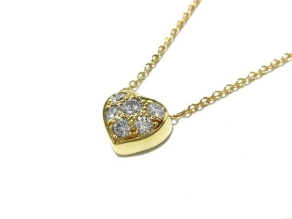 ティファニー ネックレス新品同様  パヴェハート K18YG×ダイヤモンド 6Pダイヤ