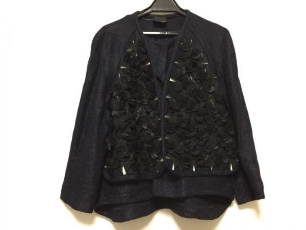 FENDI(フェンディ) ジャケット サイズ42 M レディース ネイビー×黒 フラワー