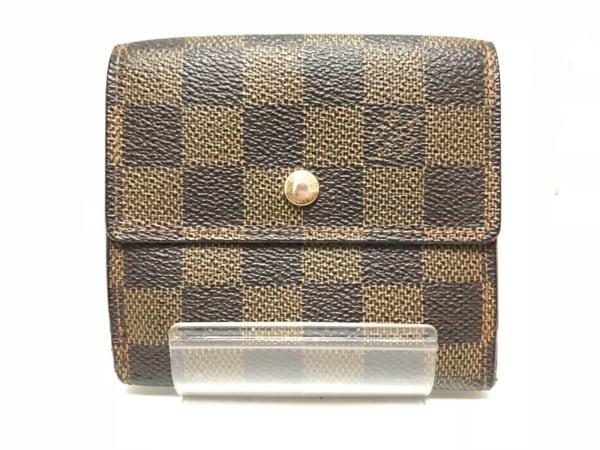 ルイヴィトン Wホック財布 ダミエ ポルトフォイユ・エリーズ N61654 エベヌ