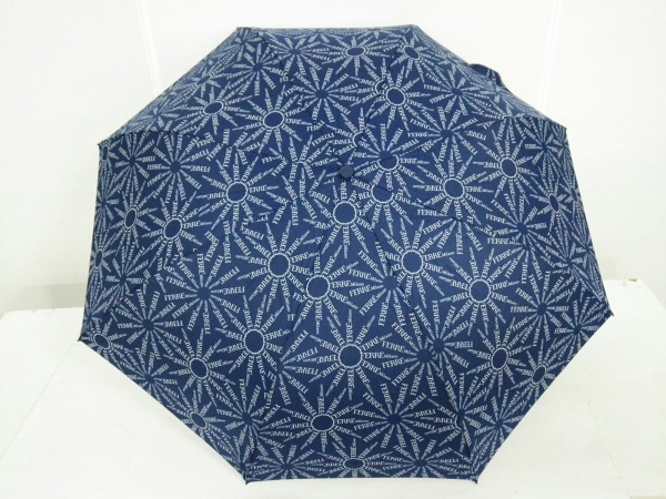 FERRE Milano(フェレ ミラノ) 折りたたみ傘美品  ネイビー×白 化学繊維