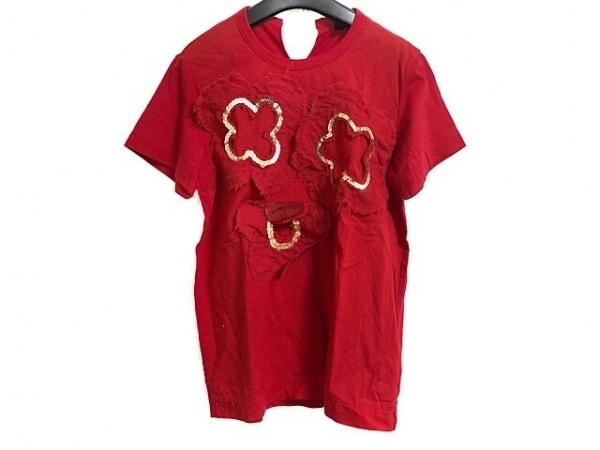 トリココムデギャルソン 半袖Tシャツ レディース レッド フラワー/スパンコール