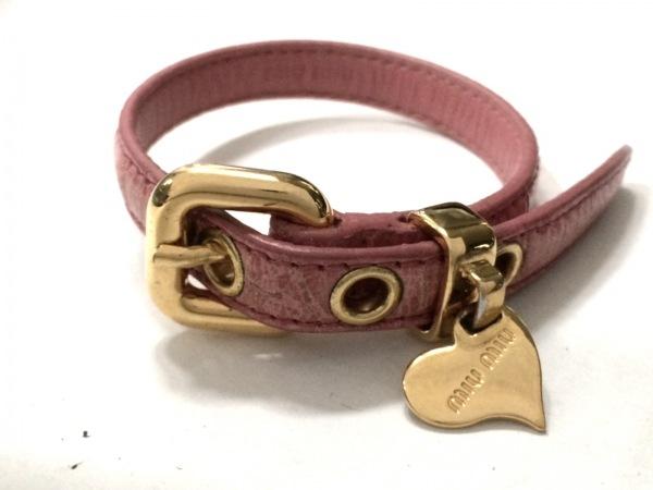 miumiu(ミュウミュウ) ブレスレット レザー×金属素材 ピンク×ゴールド ハート