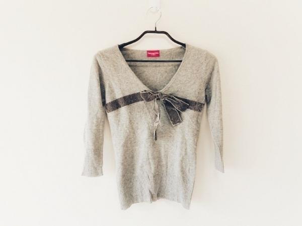 アプワイザーリッシェ 七分袖セーター サイズ2 M レディース グレー リボン/CRUISE