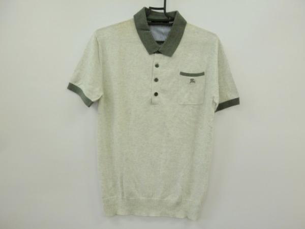 バーバリーブラックレーベル 半袖ポロシャツ サイズ2 M メンズ ライトグレー×グレー