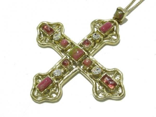 CHANEL(シャネル) ネックレス美品  金属素材×カラーストーン×ラインストーン クロス