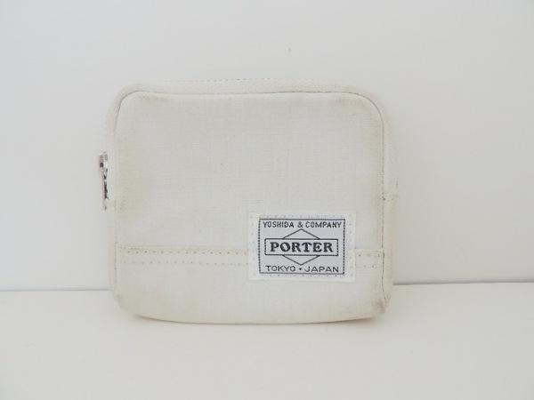PORTER/吉田(ポーター) コインケース - 白 ラウンドファスナー コットン