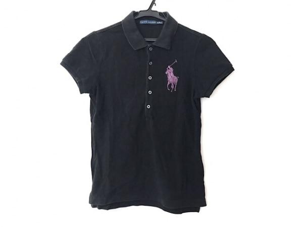 ラルフローレン 半袖ポロシャツ サイズS レディース ビッグポニー 黒×ピンク ラメ