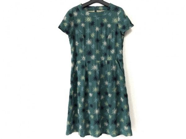 ホコモモラ ワンピース サイズ40 XL レディース美品  グリーン×マルチ 刺繍