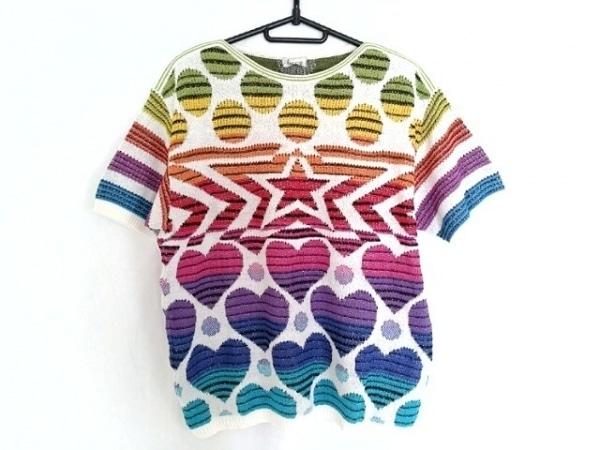 FICCE(フィッチェ) 半袖セーター メンズ 白×レッド×マルチ