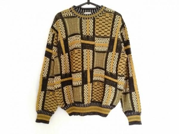 FICCE(フィッチェ) 七分袖セーター メンズ 黒×ライトブラウン×白
