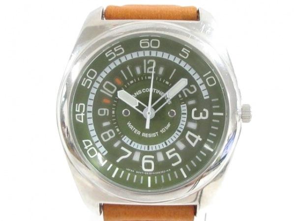 トランスコンチネンス 腕時計美品  5538-K006392 メンズ 革ベルト グリーン