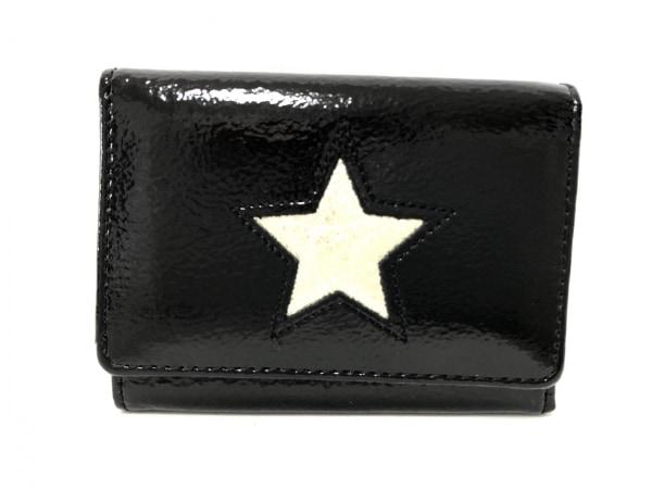 ベッカー 3つ折り財布美品  黒×ゴールド ミニ財布/スター エナメル(レザー)