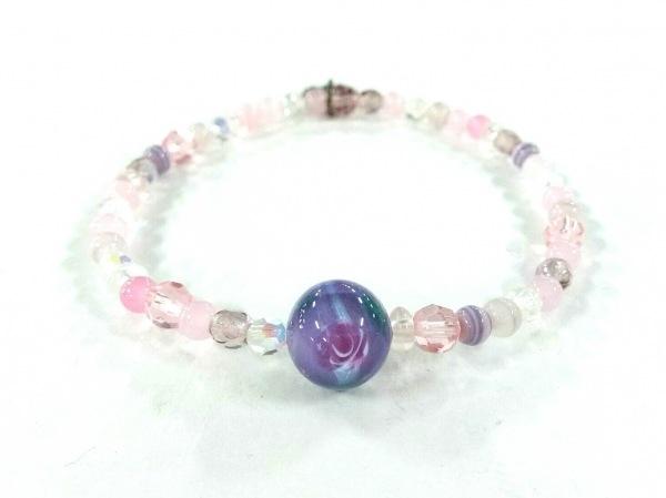 ANNA SUI(アナスイ) バングル美品  プラスチック ピンク×マルチ 数珠連