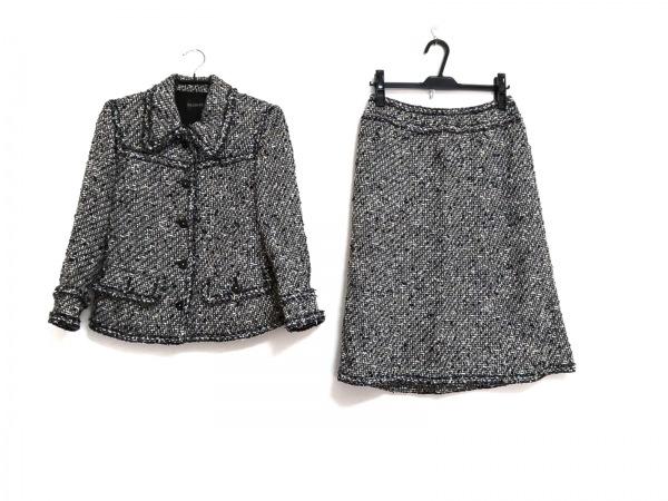 インゲボルグ スカートスーツ サイズ9 M レディース美品  黒×白×ベージュ ツイード