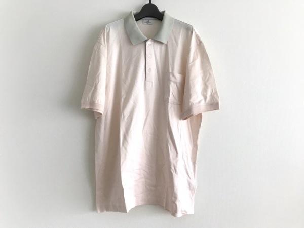 ダンヒル 半袖ポロシャツ サイズLL メンズ ベージュ×ライトグリーン sport