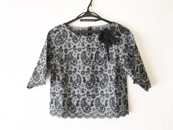 ハロッズ 半袖カットソー サイズ2 M レディース美品  黒×白 ギンガムチェック/刺繍