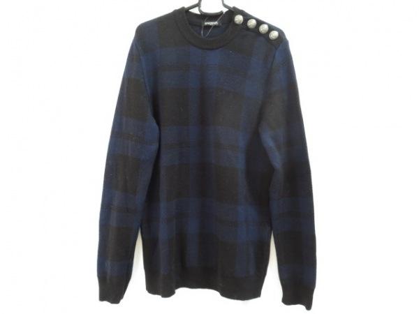 BALMAIN(バルマン) 長袖セーター サイズS メンズ 黒×ダークネイビー チェック柄