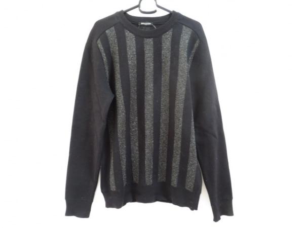 BALMAIN(バルマン) 長袖セーター サイズM メンズ 黒 ストライプ/ラメ