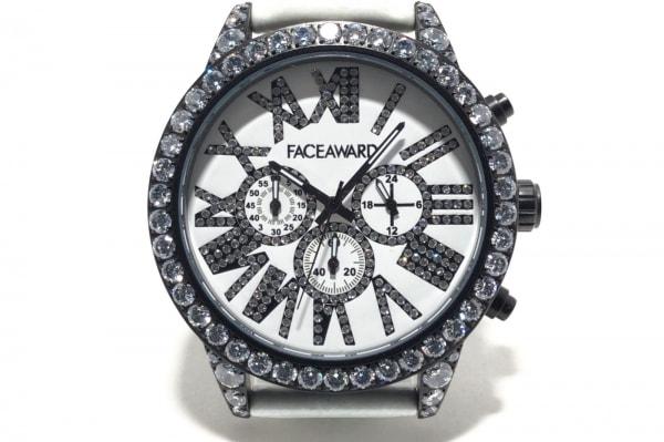 フェイスアワード 腕時計 - レディース ラインストーンベゼル 白×黒×クリア