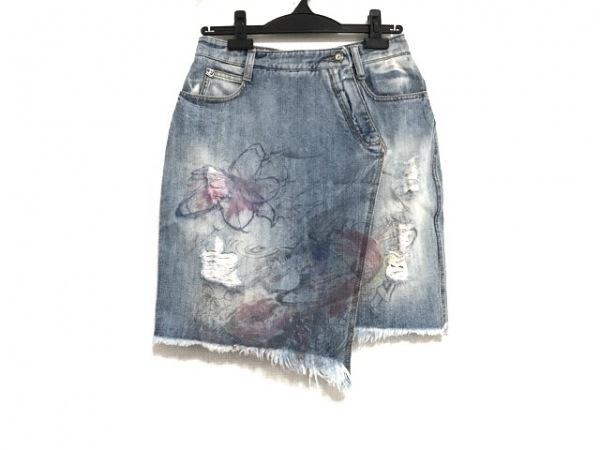 エルマノシェルビーノ スカート サイズ40 M レディース美品  ブルー×ピンク×マルチ
