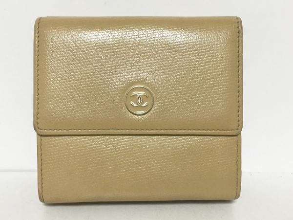 CHANEL(シャネル) Wホック財布 ココボタン ベージュ レザー