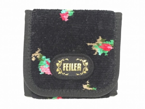 FEILER(フェイラー) コインケース 黒×ピンク×マルチ パイル