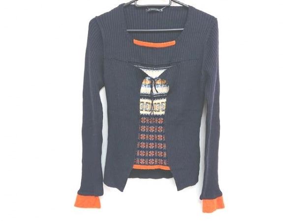 マリテフランソワジルボー 長袖セーター サイズM レディース 黒×アイボリー×マルチ