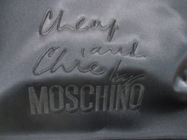 モスキーノ チープ&シック ショルダーバッグ 黒 ナイロン×レザー