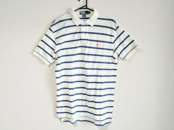 ポロラルフローレン 半袖ポロシャツ サイズM メンズ 白×ブルー ボーダー