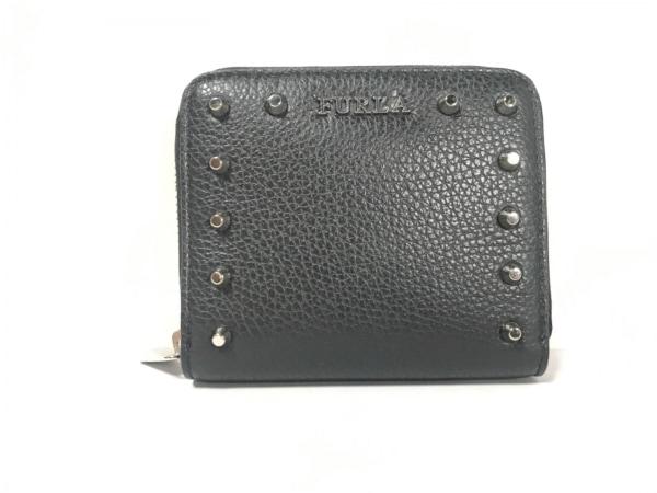 9ea310a355f4 FURLA(フルラ) 2つ折り財布美品 黒 ラウンドファスナー/スタッズ レザー ...
