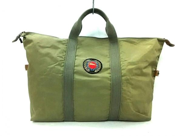 003784285227 LONGCHAMP(ロンシャン) ボストンバッグ カーキ×ブラウン 刺繍 ナイロン×レザー