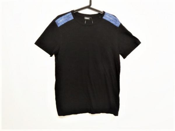 DIESEL(ディーゼル) 半袖Tシャツ サイズS メンズ美品  黒×ネイビー ニット/デニム