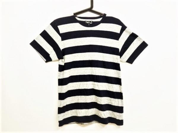 アニエスベー 半袖Tシャツ サイズ0 XS メンズ美品  ダークネイビー×ライトグレー