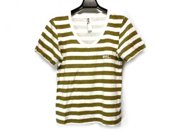 MHL.(マーガレットハウエル) 半袖Tシャツ サイズ2 M レディース 白×カーキ ボーダー