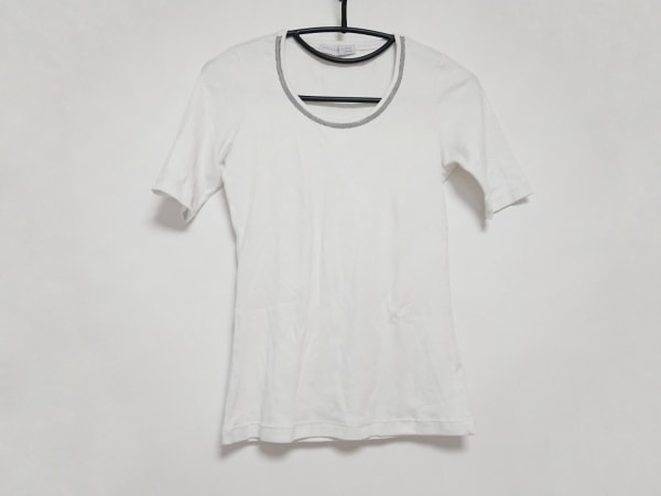 ファビアーナフィリッピ 半袖Tシャツ レディース アイボリー×グレー ビーズ