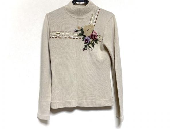 インゲボルグ 長袖セーター サイズM レディース ベージュ×ピンク×ダークグリーン