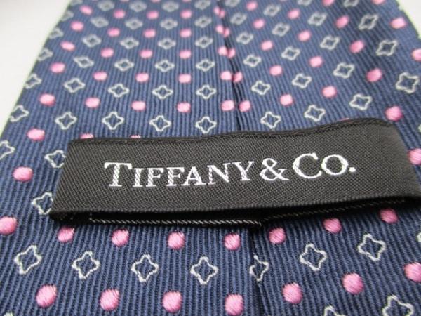 TIFFANY&Co.(ティファニー) ネクタイ メンズ ネイビー×ピンク×ライトグレー