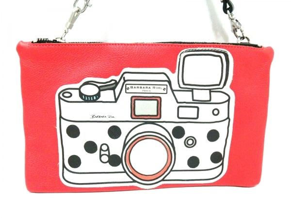 バーバラリール セカンドバッグ美品  レッド×白×マルチ カメラモチーフ