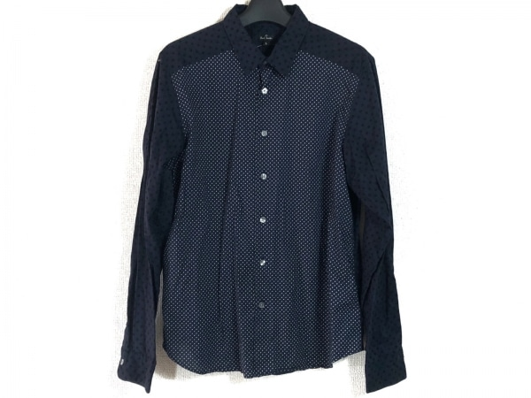 ポールスミス 長袖シャツ サイズL メンズ ネイビー×黒×白 ドット柄/パッチワーク