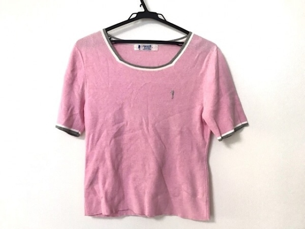 FUKUZO(フクゾー) 半袖セーター サイズM レディース ピンク×グレー×白 ニット